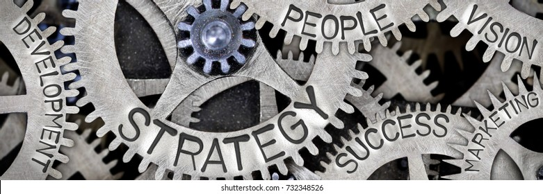 Macro photo of tooth wheel mechanism with STRATEGY, PEOPLE, SUCCESS, VISION, DEVELOPMENT and MARKETING concept words