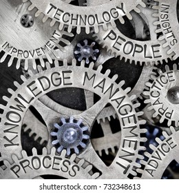 Macro photo of tooth wheel mechanism with KNOWLEDGE MANAGEMENT, PEOPLE, PROCESS, ADVICE, PRACTICE, TECHNOLOGY, INSIGHTS and IMPROVEMENT words imprinted on metal surface
