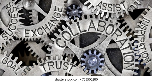 Macro photo of tooth wheel mechanism with COLLABORATION, EXCHANGE, TRUST, ASSIST, GOAL, SUCCESS and INSPIRATION concept words