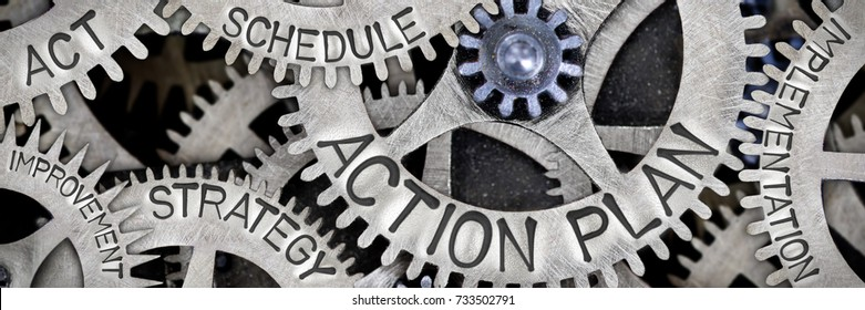 Macro photo of tooth wheel mechanism with ACTION PLAN, ACT, STRATEGY, SCHEDULE, IMPLEMENTATION and IMPROVEMENT concept words