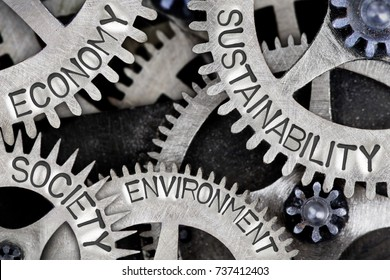 Macro photo of tooth wheel mechanism with SUSTAINABILITY, ECONOMY, SOCIETY and ENVIRONMENT words imprinted on metal surface