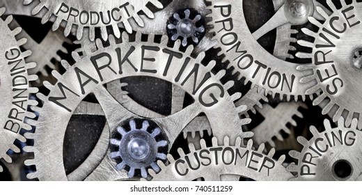 Macro photo of tooth wheel mechanism with MARKETING, CUSTOMER, PROMOTION, SERVICE, PRICING, PRODUCT and BRANDING words imprinted on metal surface