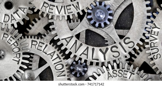 Macro photo of tooth wheel mechanism with ANALYSIS, RELATION, DATA, REVIEW, ASSET, REPORT and SURVEY words imprinted on metal surface