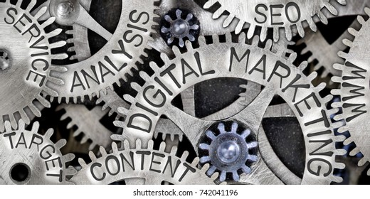 Macro photo of tooth wheel mechanism with DIGITAL MARKETING, CONTENT, ANALYSIS, WWW, SEO, SERVICE and TARGET words imprinted on metal surface