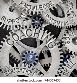 Macro photo of tooth wheel mechanism with COACHING, KNOWLEDGE, SUPPORT, SKILL, GOAL, ADVICE, EDUCATION and POTENTIAL words imprinted on metal surface