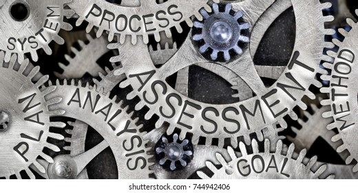 Macro photo of tooth wheel mechanism with ASSESSMENT, PLAN, ANALYSIS, PROCESS, GOAL, METHOD and SYSTEM words imprinted on metal surface
