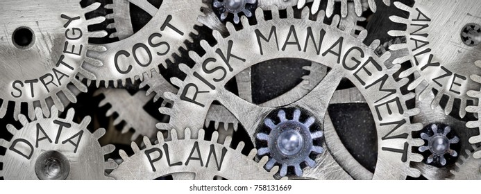 Macro photo of tooth wheel mechanism with RISK MANAGEMENT concept related words imprinted on metal surface