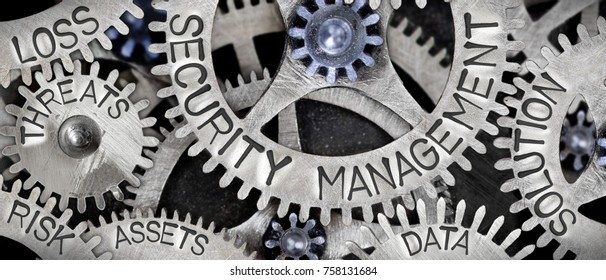 Macro photo of tooth wheel mechanism with SECURITY MANAGEMENT concept related words imprinted on metal surface