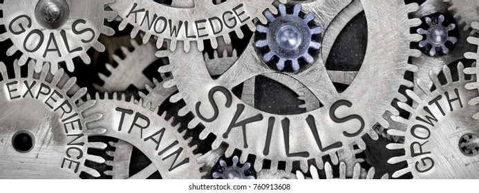 Macro photo of tooth wheel mechanism with SKILLS concept related words imprinted on metal surface - Shutterstock ID 760913608