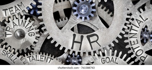 Macro photo of tooth wheel mechanism with HUMAN RESOURCES concept related words imprinted on metal surface