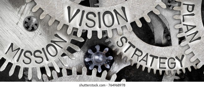 Macro photo of tooth wheel mechanism with STRATEGY, MISSION, VISION and PLAN concept words