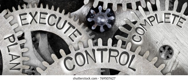 Macro photo of tooth wheel mechanism with PLAN, EXECUTE, CONTROL and COMPLETE words imprinted on metal surface