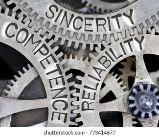 Macro photo of tooth wheel mechanism with COMPETENCE, SINCERITY, RELIABILITY concept words imprinted on metal surface