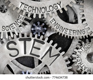 Macro photo of tooth wheel mechanism with STEM - SCIENCE, TECHNOLOGY, ENGINEERING, MATHEMATICS words imprinted on metal surface