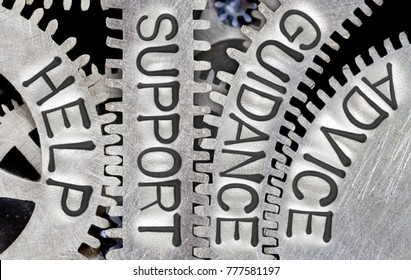 Macro photo of tooth wheel mechanism with HELP, SUPPORT, GUIDANCE, ADVICE words imprinted on metal surface