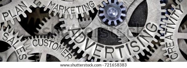 Macro photo of tooth wheel mechanism with ADVERTISING, SALES, PLAN, CREATIVITY, CUSTOMER, MARKETING concept words