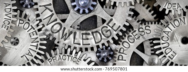 Macro photo of tooth wheel mechanism with KNOWLEDGE concept related words imprinted on metal surface