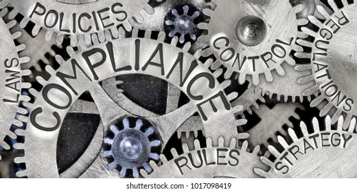 Macro photo of tooth wheels with COMPLIANCE concept related words imprinted on metal surface