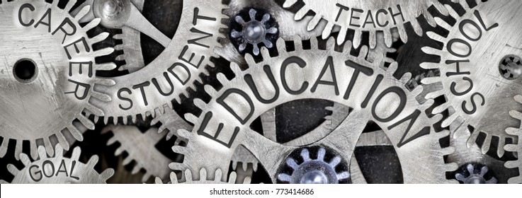 Macro photo of tooth wheels with EDUCATION concept related words imprinted on metal surface