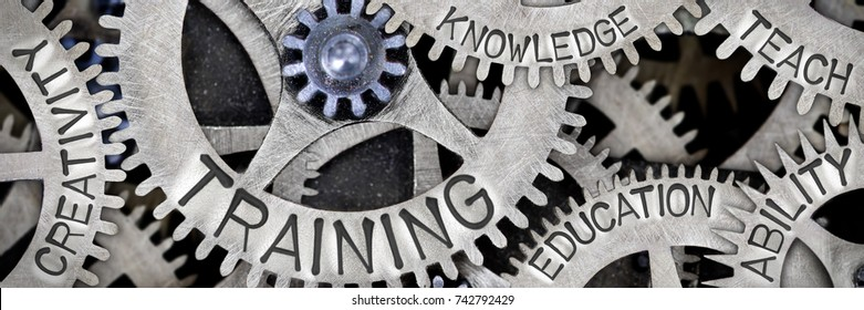 Macro photo of tooth wheels with TRAINING, CREATIVITY, ABILITY, KNOWLEDGE, TEACH and EDUCATION words imprinted on metal surface