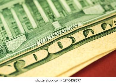 Macro photo of US treasury text on ten US dollar bill