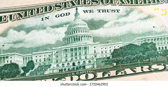 Macro photography of 50 US dollar banknote. Close up of fifty American dollar note. US dollar is the world currency.  The capitol on the reverse side  of the paper banknote. Legal tender of USA