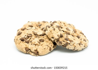 Macro photography cookies biscuits on white background