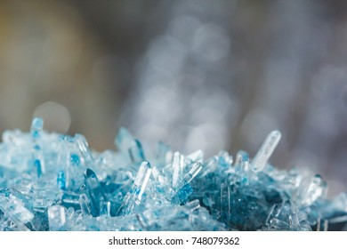 Macro photography of crystals, suitable as a winter icy blue background.