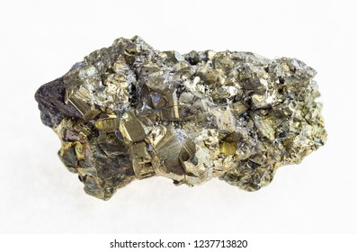 macro photography of natural mineral from geological collection - raw crystalline pyrite stone on white background