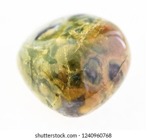 macro photography of natural mineral from geological collection - tumbled rhyolite ( rainforest jasper) stone on white background