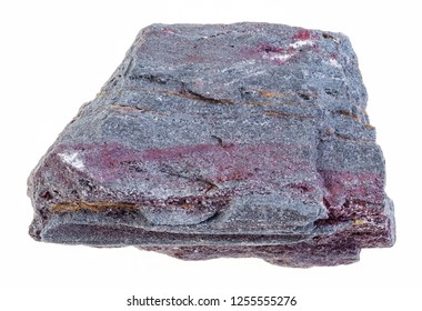 macro photography of natural mineral from geological collection - piece of raw jaspillite ( ferruginous quartzite) stone on white background