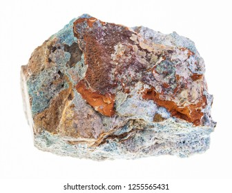 macro photography of natural mineral from geological collection - raw Scorodite (arsenic ore) stone on white background