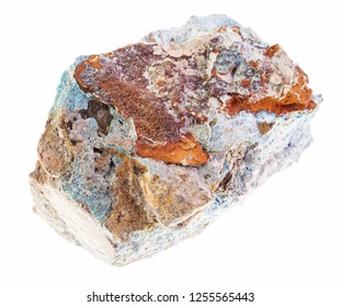 macro photography of natural mineral from geological collection - rough Scorodite (arsenic ore) stone on white background