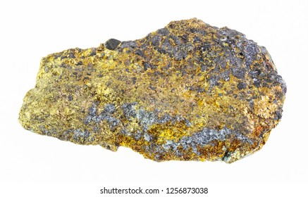 macro photography of natural mineral from geological collection - rough iron pyrite stone on white background