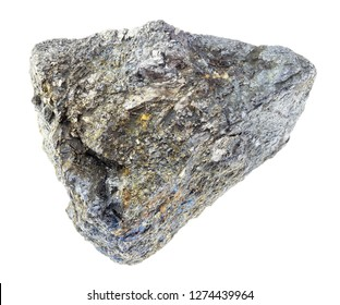 macro photography of natural mineral from geological collection - rough Arsenopyrite stone (ore of arsenic) on white background