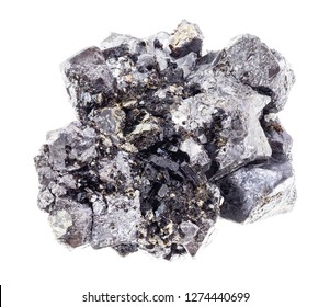macro photography of natural mineral from geological collection - rough crystalline Magnetite (Lodestone) stone on white background