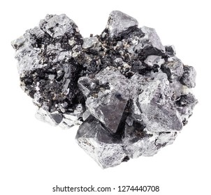 macro photography of natural mineral from geological collection - rough crystalline Magnetite (Lodestone) rock on white background