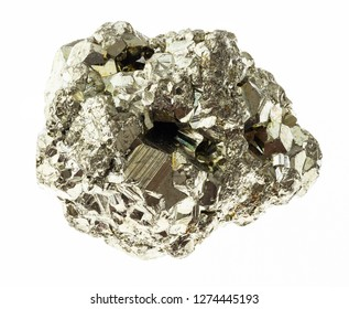 macro photography of natural mineral from geological collection - raw piece of iron pyrite (sulfur pyrite) rock on white background