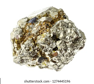 macro photography of natural mineral from geological collection - rough iron pyrite (sulfur pyrite) rock on white background