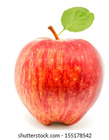 macro photography of a red apple on white background