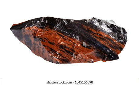 macro photography of sample of natural mineral from geological collection - unpolished mahogany Obsidian (volcanic glass) isolated on white background