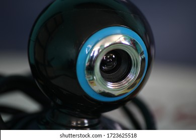 Macro photography of a wired web camera computer