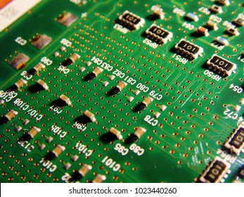 Macro picture of green printed circuit board - PCB