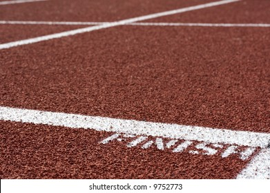 a macro picture of a track and field venue