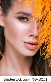 Macro portrait of model's beautiful complexion