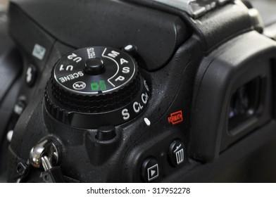 Macro of professional digital camera.