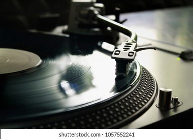 Macro of a professional record player. Concept: Music, DJ, hobby, passion, vintage