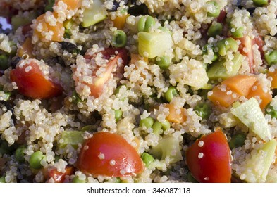 macro of quinoa salad with tomatoes and vegetables as food