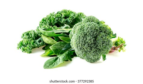 Macro of raw foods including broccoli, spinach and kale