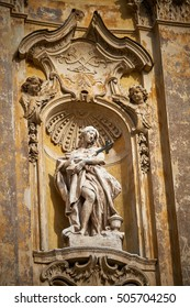 Macro of  Santa Maria Maddalena, a Roman Catholic church in Rome. It is the only Rococo style church in town